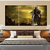 Póster de juego de 3 piezas, pinturas en lienzo de almas oscuras, arte de pared de fantasía para decoración del hogar, 50x70cm
