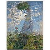 アートワーク絵画50x70cm日傘をさす女性と彼女の息子のキャンバスプリントクロードモネの壁画有名な古典的な油絵