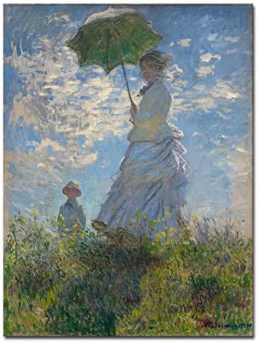 SXXRZA Wall Art 30x50cm Senza Cornice Donna Con parasole Madame Claude Monet Famosi dipinti ad Olio classici Riproduzione Persone Paesaggio Opere d'arte