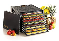 10 YEAR Limited Coverage CAPACITY - The 9-Tray electric food dehydrator has 15 square feet of drying space and offers plenty of space for your favorite snacks. TIME AND TEMPERATURE - Features a 26-hour timer and adjustable thermostat. The thermostat ...