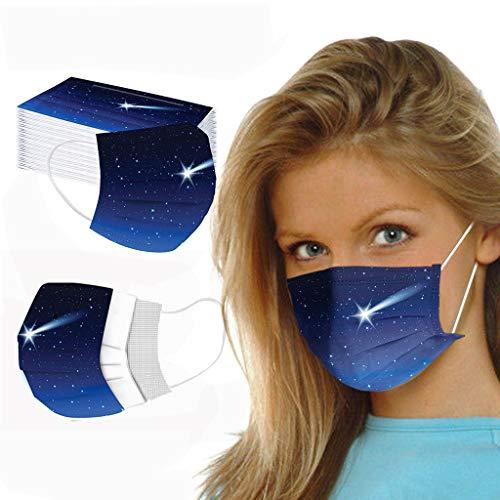 50 Stück Einmal-Mundschutz für Erwachsene, 3-lagige Mundschutz Atmungsaktiv Anti-Staub Face Bandana mit Schmetterling Motiv Ohrschlaufen Mund Nase Stoff