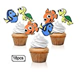 18pcs Finding Nemo Cupcake Toppers - Disney Dory Clownfish Theme Party Glitter Ocean Fish Cupcake Toppers Supplies - Boys Girls Birthday Party Dessert Food Picks Decorations