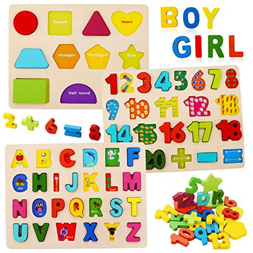 Wooden Puzzles for Toddlers, Kesletney Wooden Alphabet ABC Number Shape Puzzles Toddler Wood Learning Puzzle Educational Toys for Kids Ages 3 4 5 (Set of 3)
