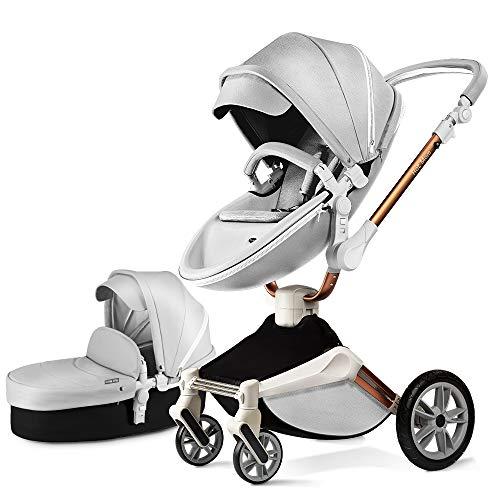 Cochecito de bebé con función de rotación de 360 grados, silla de paseo para mamá (gris)