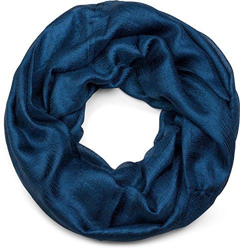 styleBREAKER Loop Schal leicht und seidig in Unifarben, Schlauchschal, Tuch, Unisex 01017063, Farbe:Dunkelblau