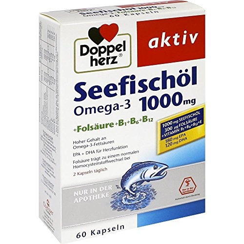 Doppelherz Seefischöl Omega-3 1000 mg+Fols. Kapseln (60 stk)