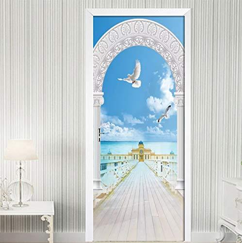 Roman Column Seascape 3D PVC Waterproof Self-Adhesive Door Sticker Wallpaper For Living Room Schlafzimmer Door Decals Wall Sticker