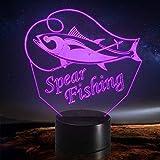 Lámpara de ilusión óptica LED Luz de noche 3D Spear Fishing Fish, Decoración moderna, Niño Lámpara, Regalo para amigo, G - Control de Telefonía Móvil
