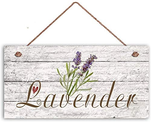 MAIYUAN Lavender Sign, Garden Sign, Rustic Decor, Herb on Distressed Wood, 12X6 Sign, House Gift, Gift for Gardener(WE1173)