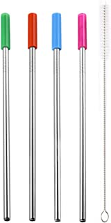 Clearance, Long Stainless Steel Metal Drinking Straws With Cleaning Brushes Set Recycle by Little Story