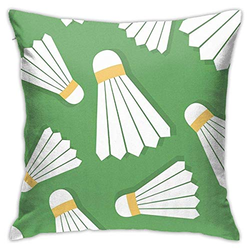 fenrris65 Fundas de almohada decorativas de 45,7 x 45,7 cm, fundas de almohada cuadradas para sofá, dormitorio, coche, bádminton, volante, raqueta, diversión deportiva