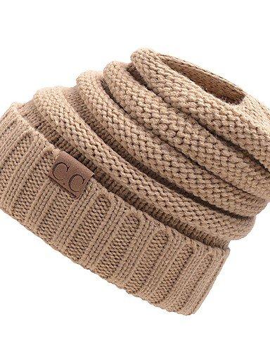 ZYT Unisexe Décontracté Tricot Roman Bonnet/Crochet,Fleurs Hiver Plissé Stylé, Wine, One-Size