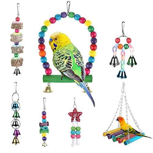 Zacro Giochi per Uccelli pappagalli, 7 Pezzi Giocattoli da Masticare, Giocattoli a Campana, per Animali di Piccola Taglia e Media, peonia, Sakura, Myn