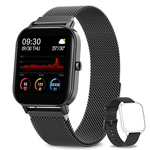 AIMIUVEI Smartwatch, 1.4 Zoll Touch-Farbdisplay Fitness Tracker, Wasserdicht IP67 Fitnessuhr Pulsuhren Sportuhr Schrittzähler Uhr Schlafmonitor für Android iOS Handy Smart Watch Aktivitätstracker