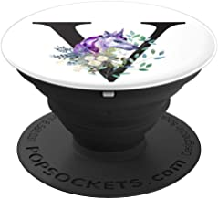Initial V Letter Flowers Unicorn Watercolor Monogram - V PopSockets Grip and Stand for Phones and Tablets