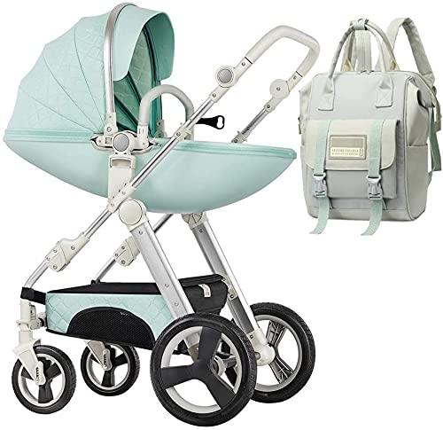 Cochecito de bebé Portátil y liviano Cochecito de cochecitos compacto cochecito de cochecito, cochecito de visión alta ajustable con mochila de bolsa de pañales, coches para babes, aguanieves de anti-