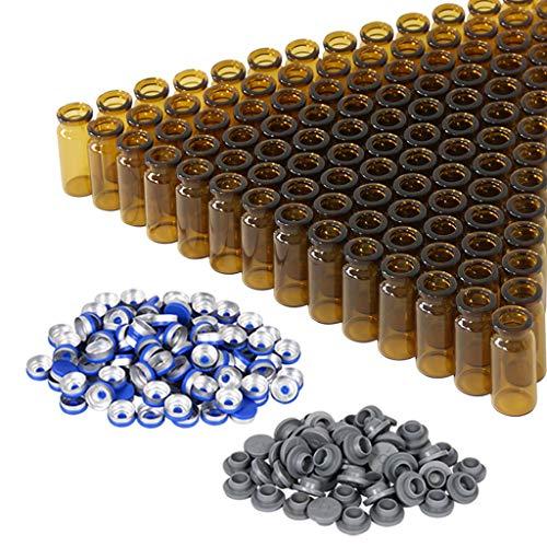 10 ml bernsteinfarbene Glasfläschchen mit Kunststoff-Aluminium-Klappkappen und Gummistopfen, 100 Stück, 20 mm flacher Boden, Laborfläschchen (Bernstein)