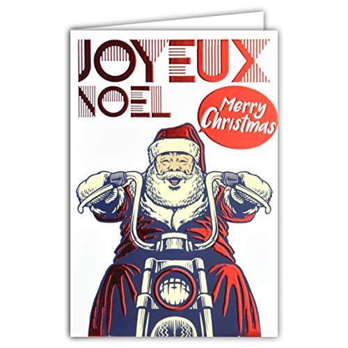 Kaart Vrolijk Kerstmis Merry Christmas Kerstman hoed muts snor motorfiets verzending geschenken rood glanzend
