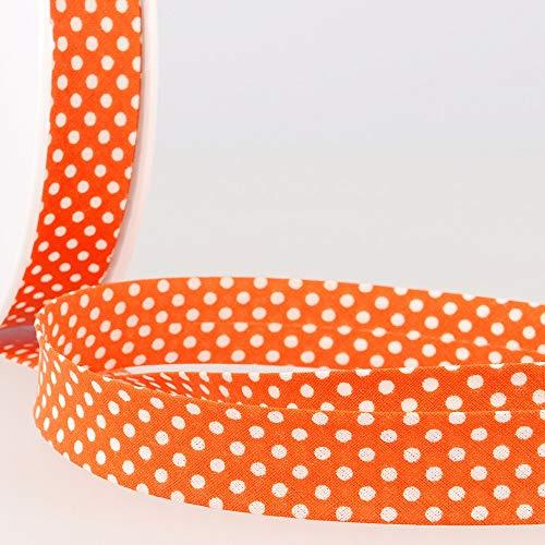 Peluche Addict La Stephanoise - Rilegatura in sbieco in cotone, 20 mm, a pois bianchi su arancione