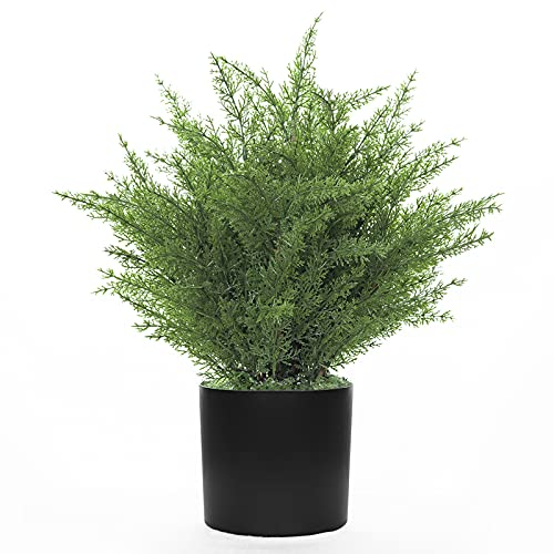 Kissilk Artificial Cedar Topiary Artificial Cedar Tree Artificial Cedar Shrub UV-Proof Leaves Bushes Potted Plants for Home Office Outdoor and Indoor Decor- 16 Inch (16)