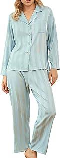 E-girl Pijama para mujer, juego de 2 piezas, parte superior de pijama, pantalones de pijama, fibra regenerada, suave, ropa...