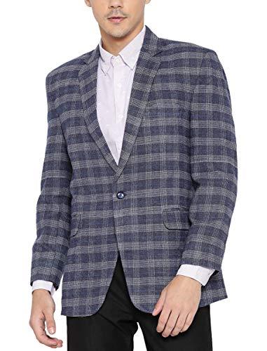 Shaftesbury London Mens Slim Fit Woolen Formal Blazer Single Breast Jacket(Blue,42)