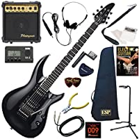 EDWARDS エレキギター 初心者 入門 ESP直系の国産ブランド 左右非対称ボディのホライゾンIII スルーネックモデル 10wアンプが入ったスタンダード15点セット E-HR-145III/BK(ブラック)