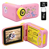 Kids Camera, Dinosaur Kids Video Camera Camcorder with 270°Rotation 2.4Inch Screen, 1080P FHD Camera for Kids Digital Video Camera Recorder for Boys Girls Gift Age 3-10 with 32G SD Card, Card Reader