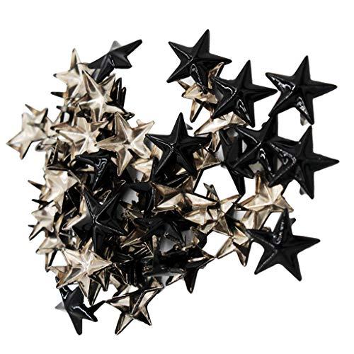 IPOTCH 50pcs Stern Ziernieten, Krallennieten, Kegelnieten, Pyramidennieten, Gothic Nieten für Leder, Kleidung, Taschen, Gürtel - Schwarz