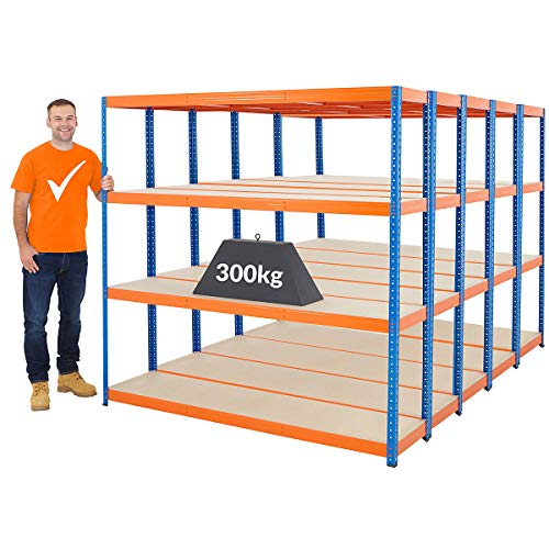 Certeo Mega Deal   5x Estantería de alta resistencia   300 kg por estante   Estante de metal Estante de bodega Estante de almacenamiento Estante de taller Estante de garaje Estante de enchufe