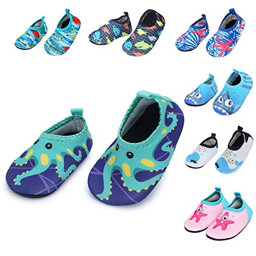 Barerun Baby Girls Boys Swim Water Shoes Quick Dry Non-Slip Water Skin Barefoot Sports Shoes Aqua Socks for Infant Green 18-24 Months Infant