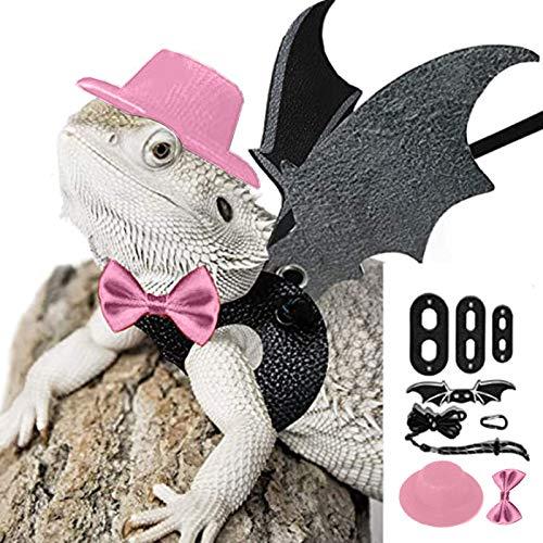 GOTH Perhk Juego de disfraz de dragón Bearded Dragon Leash ajustable + sombrero de copa + corbata de lazo para réptilicas de lagarto | Barbagame, anfibios y otros animales pequeños (rosa)