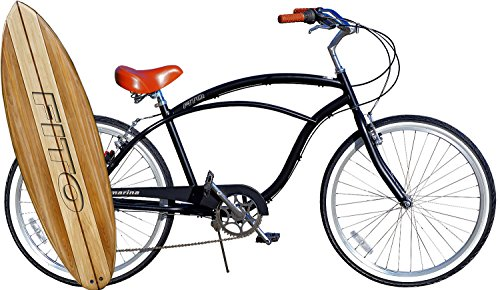 Fito Anti Rust Light Weight Aluminum Alloy Frame, Marina Alloy 7-Speed for Men - Matte Black/Brown, 26' Wheel Beach Cruiser Bike Bicycle