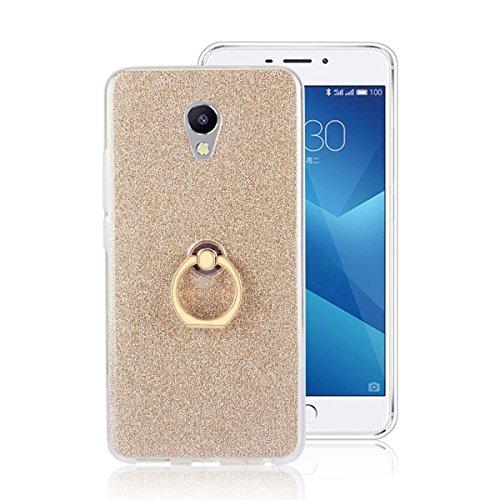 pinlu® Etui Schutzhülle Für Meizu M5 Note Soft Silikon TPU Ultra Thin Protective Cover Glitzer Rück mit Abnehmbarer Boden Skin & Ring-Schnalle Design Gold