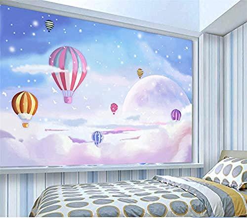 3D Mooie hemel hete lucht Ballon Behang PVC Game Movie Personages Poster Foto's Gym Yoga Internet Cafe Behang Grijs Muursticker Border Woonkamer voor Slaapkamer Rose Blauwe muurschildering Kinderen 300 cm.