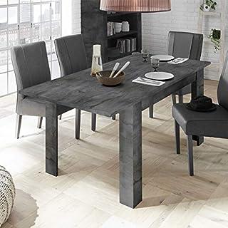 Tousmesmeubles Table de Repas à allonge Béton ciré foncé - LUBIO - L 137/185 x l 90 x H 79 - Neuf