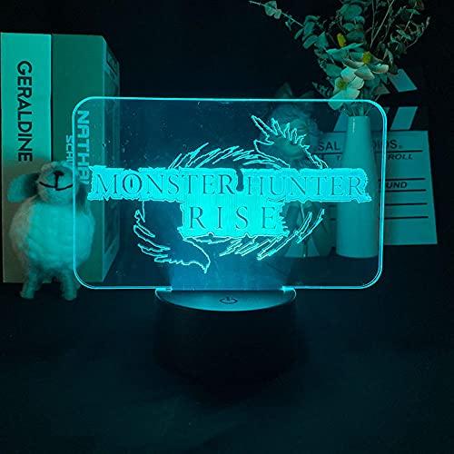3D Anime Lampe Led Nachtlicht, mehrfarbig wechselndes Monster & Hunter Rise Lumineszierend für Innenlichtprojektor für Geburtstagsgeschenk