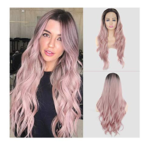 Ombre Pink Lace Front Wig GLAMADOR Natural Long Wavy Synthetic Lace Wig, Women Heat Resistant Middle Part Wigs, Curly Full Replacement Wigs for Women Cosplay Halloween with Wig Cap- 24 Inch