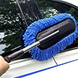 Lukzer 1 PC Microfiber Car Duster (Blue) Telescoping Extendable Interior Exterior Multipurpose Cleaning