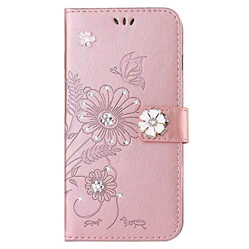 kompatibel mit Galaxy S5 Hülle,Galaxy S5 Neo Hülle,Handyhülle Galaxy S5 Blume Schmetterling Glitzer Strass Diamant PU Lederhülle Flip Hülle Wallet Tasche Schutzhülle für Galaxy S5/S5 Neo,Rose Gold