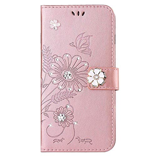 kompatibel mit iPhone SE Hülle,iPhone 5S Hülle,Handyhülle für iPhone SE Blume Schmetterling Glitzer Strass Diamant PU Lederhülle Flip Hülle Wallet Tasche Schutzhülle für iPhone SE/5/5S,Rose Gold