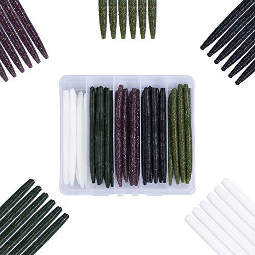 Mgotu 5' Senko Soft Plastic Worms, Salt Impregnation Swim Baits,Wacky Rig Bass Fishing Lures Kits with Tackle Box Freshwater Saltwater