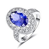 Emsione 925 Sterling Silver Plated Created Tanzanite Brilliant Oval Cut Halo Solitaire Anniversary Wedding Engagement Ring Band Ring for Women Size 9 Color Blue