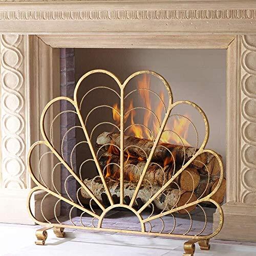 Haard scherm gouden woning brandscherm waaiervormige decoratie baby-huisdier-sap Spark-mesh afdekking voor open vuur/hout-brander/gasfires 37,8 x 30,9 inch