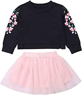 Toddler Kids Baby Girls Winter Clothes Floral Long Sleeve Sweatshirt Tops+Pink Tutu Skirt Set