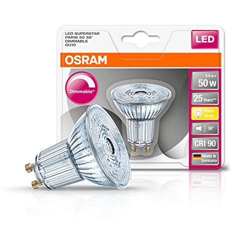 Osram LED SuperStar PAR16 Reflektorlampe, mit GU10-Sockel, dimmbar, Ersetzt 50 W, 36° Ausstrahlungswinkel, Warmweiß - 2700 Kelvin, 1er-Pack