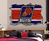 Basketball Phoenix Team Wall Decals Art 3D Smashed Custom Fan Suns Wall Decor Bedroom Garage Removable Vinyl Wall Stickers Gift WL203 (24' W x 16' H)