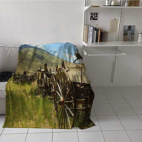 Bed Blanket Barn Wood Wagon Wheel Velvet Plush Soft Throw Blanket Line of Antique Carriages in Rural Village Farm and Hills Best Gift for Women, Men, Kid, Teen Green Brown Pale Blue 50x60 Inch