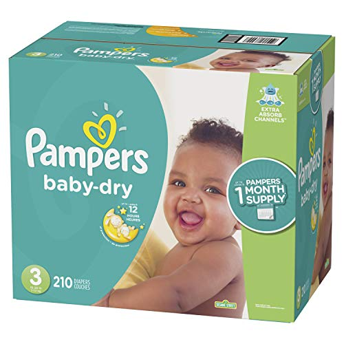 Pampers Baby Dry Disposable Diapers, Size 3, 210 Count