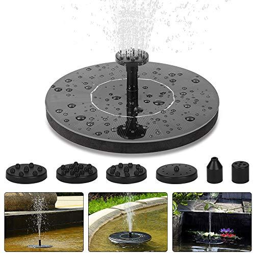 Vivibel - Fuente solar para estanque (redonda, bomba solar para estanques, depósito de peces, jardín, bomba de agua con panel solar, batería integrada y circuito de agua (6 boquillas), Negro